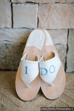 Wedding shoes ideas - sandals, fall, I, Do, custom, bride, white, blue {Claire Marika Photography}