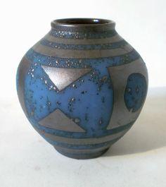 """60s Carstens Keramik Vase """"652-13"""" ANKARA pattern west german ceramic annees 60"""