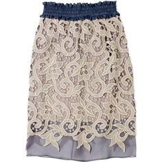 Carven Lace Overlayed Pencil Skirt ($1,004) ❤ liked on Polyvore
