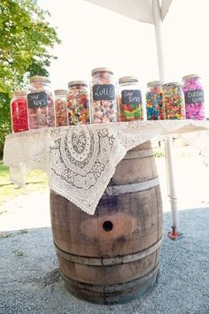 cute idea with candy bar for a country wedding. Could also use burlap! Don't forget personalized napkins for your rustic/country wedding! www.napkinspersonalized.com