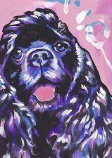 black Cocker Spaniel art print of bright pop Painting dog portrait 8.5x11