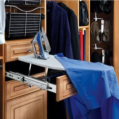 If you're frequently frazzled because you iron your shirts last minute, this genius ironing board drawer will help you out. | 15 Wonderful Ways To Improve Your Closet