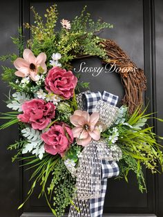 Pink Peonies Wreath, Summer Wreath, Mother& Day Gift, Sassy Doors Wreath, S. Summer Door Wreaths, Wreaths For Front Door, Christmas Wreaths, Spring Wreaths, Winter Wreaths, Pink Wreath, Tulle Wreath, Burlap Wreaths, Grapevine Wreath