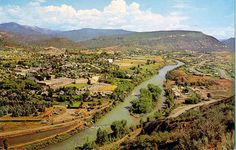 Vintage postcard~ view of Animas Valley, Durango, CO, from Fort Lewis College.