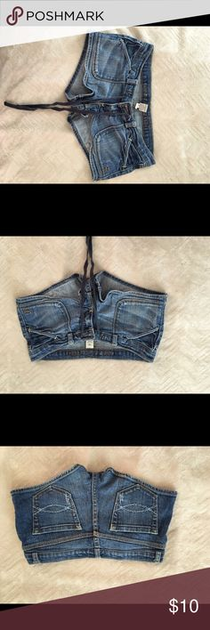 Abercrombie and Fitch jean shorts with draw string Super cute with a tank or a T Abercrombie & Fitch Shorts Jean Shorts