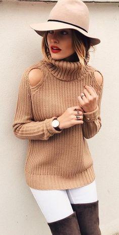 Camel Cold Shoulder Turtleneck Sweater |Caroline Receveur