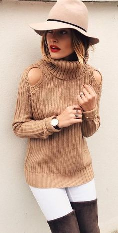 Camel Cold Shoulder Turtleneck Sweater | Caroline Receveur