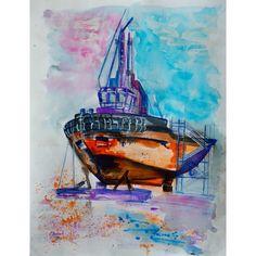 Encre acrylique aquarellable de Chenel, Titre : Remorqueur au chantier naval de Concarneau Format 65 x 50 cm
