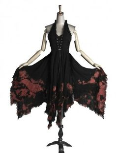 Black and Red Halter Gothic Prom Dress