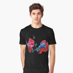 Two pretty betta fish on this design. Looks great on apparel, decor or accessories. #fish #betta #aquarium @redbubble #findyourthing