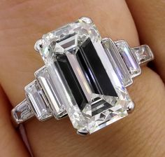 87645afcc Impressive Art Deco GIA 4.37ct Emerald Cut Diamond Vintage Engagement  Wedding Platinum Ring by TreasurlybyDima