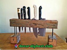 holder for knives upcycled wood, driftwood Wood Furniture, Furniture Design, Objet Deco Design, Knife Storage, Knife Holder, Diy Holz, Woodworking Projects Diy, Wooden Crafts, Wood Design