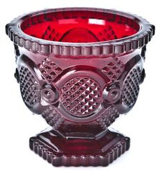 """Avon Cape Cod Ruby Red Sugar Bowl  1980-1983  (3-1/2"""" High)  Came with 3 Sachet Tablets"""