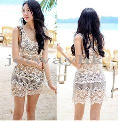Women Lace Crochet Sleeveless Swimwear Bikini Cover Up Beach Dress Black Beige