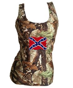 Southern Sisters Designs - Camo Tank Top With Weathered Rebel Flag - Womens, $18.95 (http://www.southernsistersdesigns.com/camo-tank-top-with-weathered-rebel-flag-womens/)