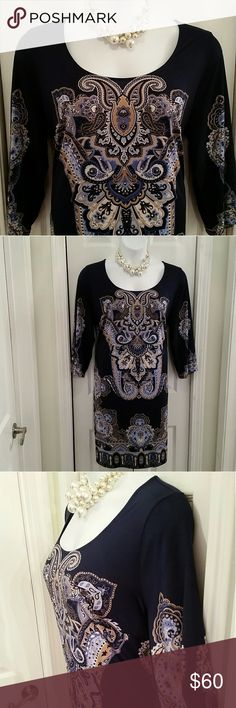 Pretty dress NWOT New, never worn Navy Blue dress with intricate pattern enhanced with silver bling details from INC International Concepts  Size 1X, fits like 16W 39 Inches long  23 inches across armpit to armpit lying flat  Drapes your body beautifully  Stretch material 92% polyester 8% spandex  Pull on over head, same pattern on back   It's so easy to look stunning in this dress!! INC International Concepts Dresses