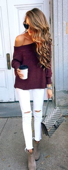 #fall #outfits women's brown and white shirt and pants