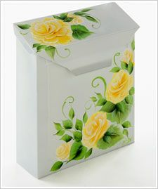 FolkArt ® One Stroke™ Cabbage Rose Tin Mailbox
