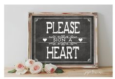 Instant 'Please sign a Heart' Printable 8x10 and 11x14 by JoJoMiMi