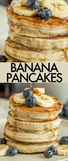 The ultimate Homemade Banana Pancakes Recipe! The pancakes are sweet, light, fluffy, and loaded with bananas! #valentinascorner #pancakes #pancakerecipe #breakfast #homemadepancake #fluffypancakes