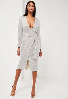 Peace + Love Silver Sequin Long Sleeve Wrap Midi Dress