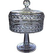 Antique EAPG Burlington Glass Work 1884  MASCOTTE  w/Etch Lid Compote