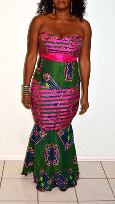 Ankara Pink And Green Bustier Long Two Piece by ZabbaDesigns, $100.00