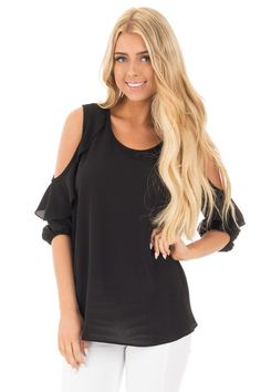 Lime Lush Boutique - Black Cold Shoulder Top with 3/4 Sleeves and Ruffle Detail, $34.99 (https://www.limelush.com/black-cold-shoulder-top-with-3-4-sleeves-and-ruffle-detail/)