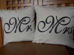 Pillow covers  Mr and Mrs  linenlook cotton by LaRaeBoutique, $33.00