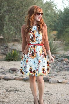 Belted open cardigan over a floral dress