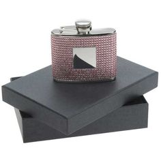£34.99 - Engraved Hip Flask with Pink Diamante Crystals