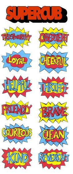 Akela's Council Cub Scout Leader Training: Super Cub Superhero Comic Bubbles with the points of the Scout Law superhero style! For Cub Scouts FREE PRINTABLE CLIP ART IMAGE
