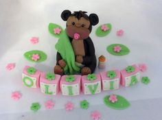 EDIBLE CAKE TOPPER Baby Monkey Boy or Girl with letter name blocks flowers leaves Safari Jungle Fondant Baby shower welcome baby Birthday