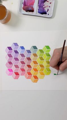 QBert Watercolor by Josie Lewis - Get free templates! Cool Art Drawings, Pencil Art Drawings, Art Drawings Sketches, Cool Pattern Designs, Cool Patterns To Draw, Geometric Pattern Design, Watercolour Tutorials, Diy Canvas Art, Doodle Art