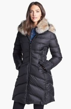 Dawn Levy 'Chloe' Genuine Coyote Fur Trim Lace-Up Down Coat available at #Nordstrom