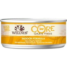 Wellness Core Grain Free Indoor Formula canned cat food is based on the nutritional philosophy that pets, based on their primal ancestry, thrive on a diet mainly comprised of meat.    Each formula is packed with a high concentration of quality animal protein, without fillers or grains, along with a proprietary blend of botanicals and nutritional supplements including probiotics.
