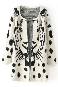 Tiger Print Polka Dots White Cardigan