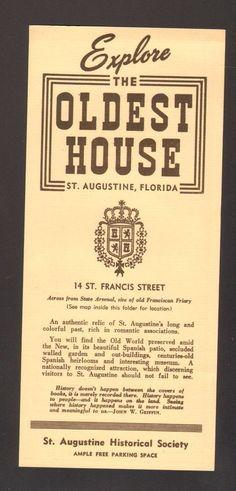 Undated Travel Souvenir Brochure The Oldest House St Augustine Florida FL #FavoriteStAugustineImages #staugustine