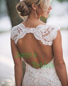 Custom made monique lhuillier mermaid lace wedding dress wedding gown on Etsy, $438.00