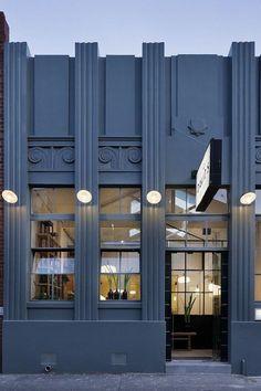 Jcp building exterior inspiration updated to a modern Art Deco inspired exterior. - Jcp building exterior inspiration updated to a modern Art Deco inspired exterior. Love the color Jc - Casa Art Deco, Arte Art Deco, Motif Art Deco, Estilo Art Deco, Art Deco Design, Art Deco Door, Architecture Art Nouveau, Melbourne Architecture, Retail Architecture