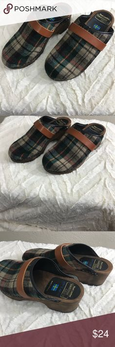 Plaid Swedish clogs Real leather and plaid Swedish clogs.  Unique and cute, features a wooden base.  Good used condition.  Trendy and cool!  Bundle for a discount Swedish Clogs Shoes Mules & Clogs