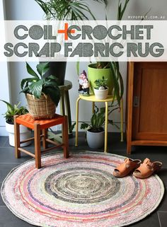 Make your own Scrap fabric rug   Finally the tutorial you've all been waiting for! I've been working on this coiled and crochet rug slowly for months and months; now that it's finished I want to show you how to make your own.