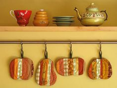 Pumpkin Coasters by PatchworkPottery, via Flickr