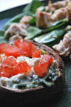 three square chef: Spinach & Artichoke Stuffed Mushrooms