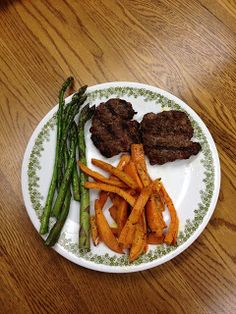 Paleo Paramedic: Easy Station Dinner  Hamburgers sweet potato fries and asparagus