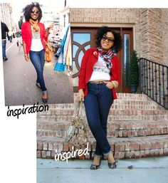 Tee with jacket/blazer, scarf and flats