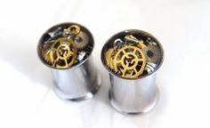 Pair of Unique Steampunk Vintage Watch Parts Ear Plugs / by Jamlincrow, £28.00 8mm,  0g gauge