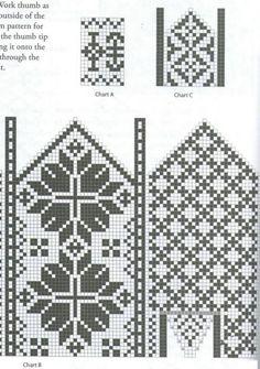 Knitted Mittens Pattern, Crochet Mittens, Fingerless Mittens, Knitted Gloves, Knitting Charts, Knitting Stitches, Knitting Socks, Knitting Patterns, Fair Isle Chart