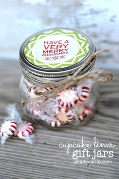 Cupcake Liner Gift Jars are SO easy...just use a cupcake liner on the top of a treat-filled mason jar to create a super easy and adorable gift!