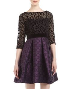 Two-Tone Mixed Dot Dress, Black/Aubergine by Taylor at Neiman Marcus Last Call.
